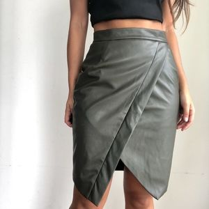 Prettylittlething Faux Leather Wrap Midi Skirt W27